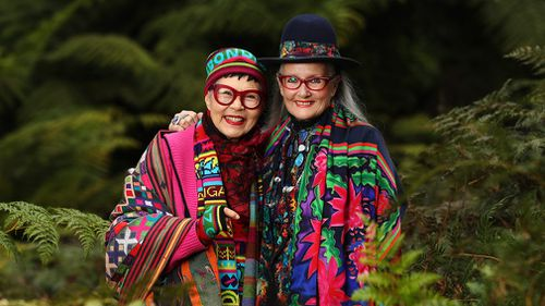 Fashion designers Jenny Kee and Linda Jackson pose for a photograph in the Blue Mountains. Picture: AAP