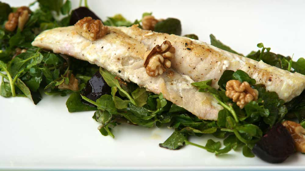 Flathead fillets with roasted baby beetroots and walnuts