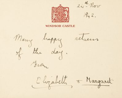 A birthday note from the princesses to Alathea for her nineteenth birthday in November 1942.