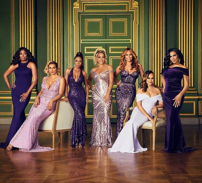 From left to right: Real Housewives of Potomac stars Gizelle Bryant. Wendy Osefo, Robyn Dixon, Candiace Dillard Bassett, Karen Huger, Gizelle Bryant, Ashley Darby and Mia Thornton.