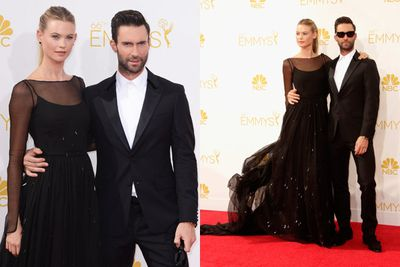 Barely a day later, they were at it again at the Emmy Awards. Note: Adam's hand is in exactly the same place on Behati's waist as it was at the VMAs.