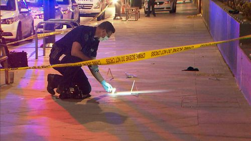 A 23-year-old man was stabbed during the scuffle - his injuries aren't life threatening.