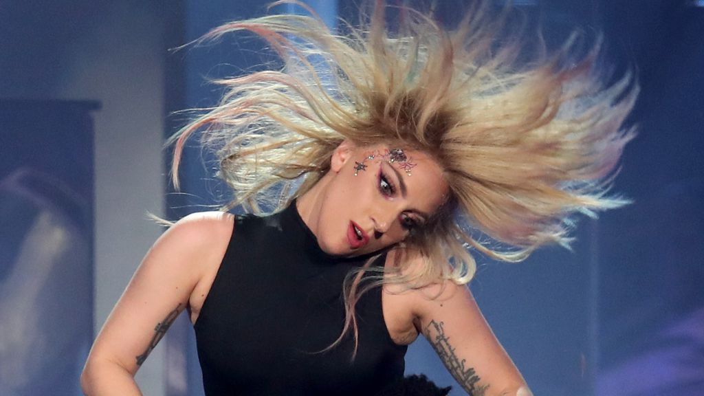 Lady Gaga performing at Coachella with her signature blonde locks. Image: Getty