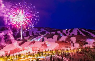 Fireworks over mountains in Aspen.