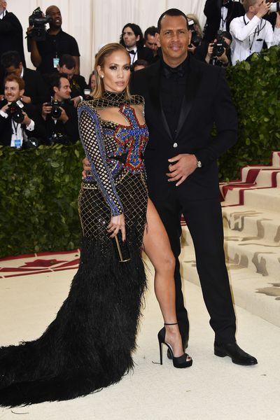 Jennifer Lopez in Balmain and Alex Rodriguez at the 2018 Met Gala<em> Heavenly Bodies: Fashion and the Catholic Imagination</em>