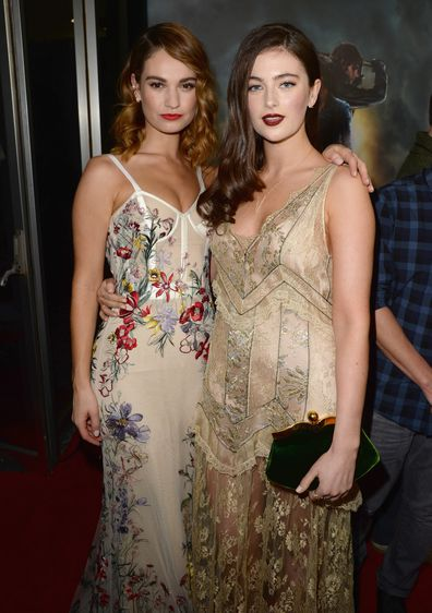 """Lily James and Millie Brady attends the Premiere of Screen Gems' """"Pride and Prejudice and Zombies"""" on January 21, 2016 in Los Angeles, California."""