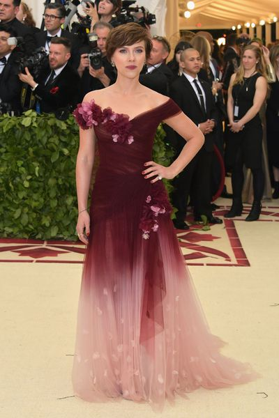 Scarlett Johannson in Marchesa at the 2018 Met Gala&nbsp;<em>Heavenly Bodies: Fashion and the Catholic Imagination&nbsp;</em>in New York