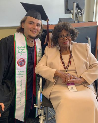Prince Jackson and Katherine Jackson at graduation