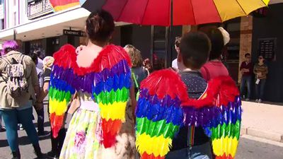 Rainbow flags and accessories promoted the cause. (9NEWS)