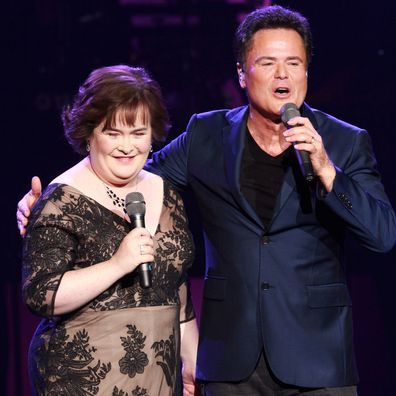 Susan Boyle and Donnie Osmond perform at the Flamingo Theater inside the Flamingo Hotel and Casino  on October 17, 2012 in Las Vegas, Nevada.