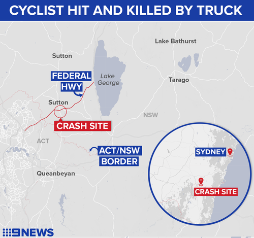 Cyclist dies after being hit by truck on NSW/ACT border