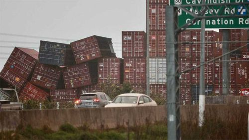Containers could be seen in disarray at Wiri Ports container storage facility in south Auckland.