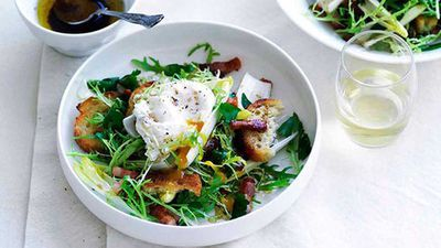"""Click here for our picture perfect <a href=""""http://kitchen.nine.com.au/2016/05/16/16/24/salade-lyonnaise"""" target=""""_top"""">salade Lyonnaise</a> recipe"""