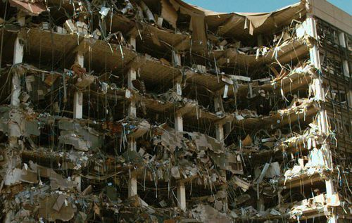 The devastated remains of the Oklahoma City bombing. (AAP)
