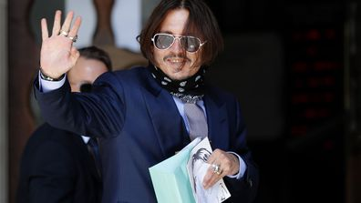Actor Johnny Depp arrives at the High Court in London, Friday, July 17, 2020