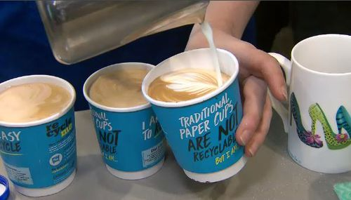 Many coffee shops in Australia have moved away from takeaway cups and urged customers to bring their own instead. Picture: 9NEWS