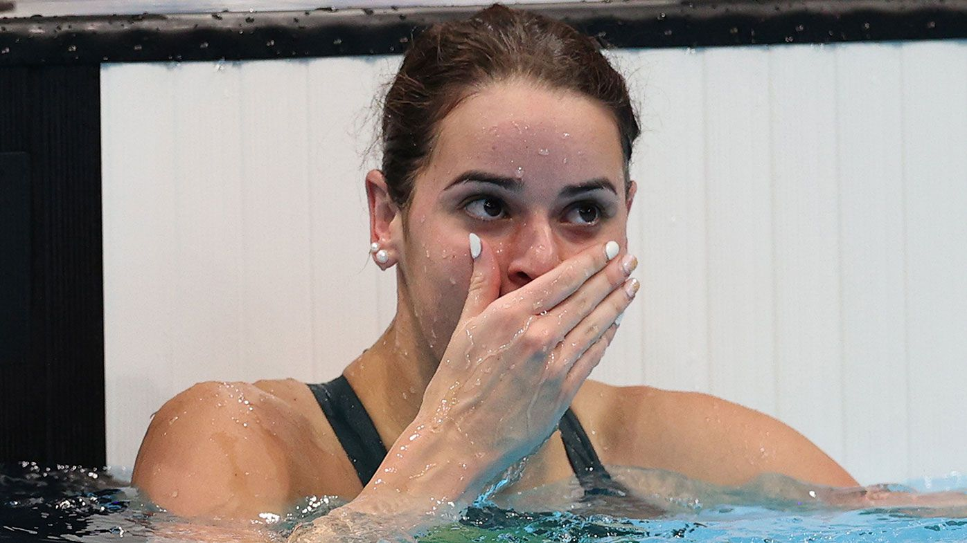 Kaylee McKeown of Team Australia reacts after winning the gold medal in the Women's 100m Backstroke Final on day four of the Tokyo 2020 Olympic Games at Tokyo Aquatics Centre on July 27, 2021 in Tokyo, Japan. (Photo by Maddie Meyer/Getty Images)