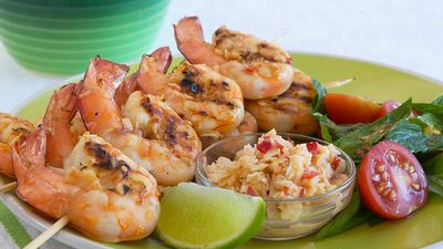 "<a href=""http://kitchen.nine.com.au/2016/05/17/22/24/grilled-prawns-with-coconut-and-lime-sambal"" target=""_top"">Grilled prawns with coconut and lime sambal<br /> </a>"