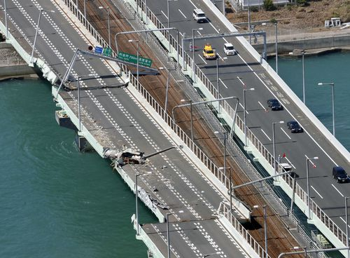 he bridge was damaged after a tanker crashed into it the previous day as powerful Typhoon Jebi hit western Japan