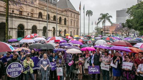 A March together for Choice rally was also held in Brisbane ahead of proposed changes to Queensland's abortion laws.
