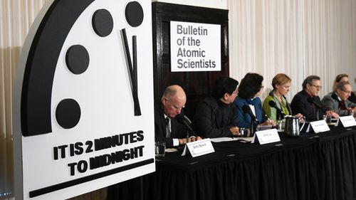A group of scientists and scholars, including 15 Nobel laureates, set the clock at 11.58pm – two minutes before the symbolic apocalyptic midnight.