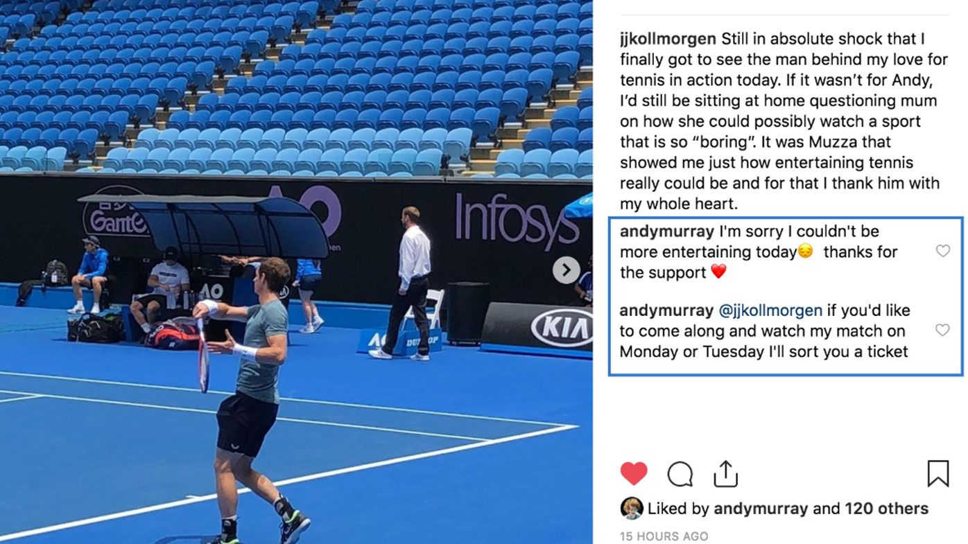 Andy Murray's classy gesture to tennis fan at the Australian Open