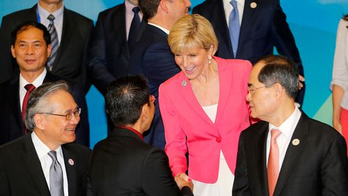 Julie Bishop has left the APEC summit early to serve as Acting Prime Minister (Image: AP/Made Nagi)