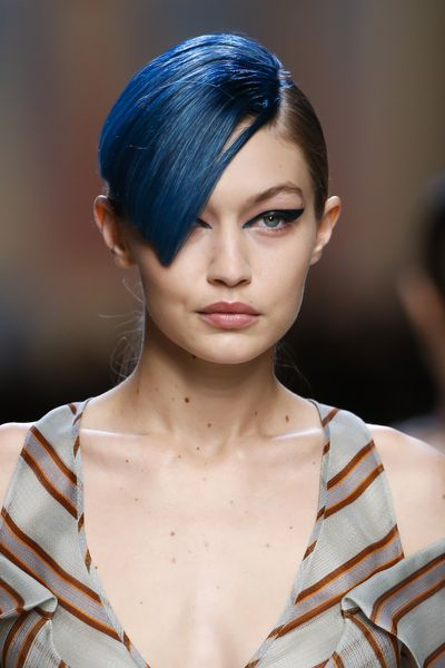 Petrol bangs - as worn by Gigi Hadid.