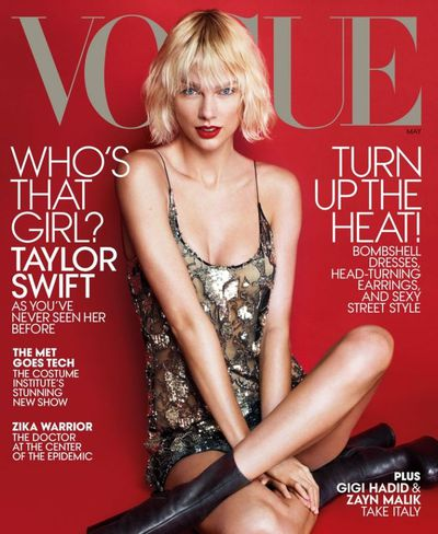 Taylor Swift in a Saint Laurent by Hedi Slimane dress and Vetements boots for <em>US Vogue</em> May 2016