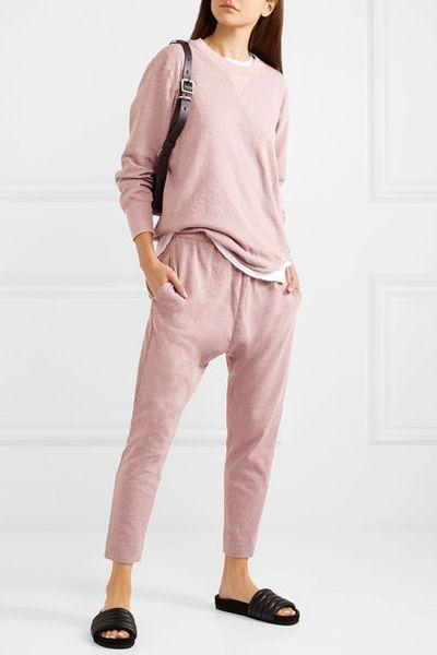 """<p><a href=""""https://www.net-a-porter.com/au/en/product/1059715/Bassike/organic-melange-cotton-jersey-sweatshirt"""" target=""""_blank"""" title=""""Bassike Organic Mélange cotton-jersey sweatshirt, $220"""">Bassike Organic Mélange cotton-jersey sweatshirt, $220</a></p> <p><a href=""""https://www.net-a-porter.com/au/en/product/1059713/Bassike/organic-melange-cotton-jersey-track-pants"""" target=""""_blank""""></a><a href=""""https://www.net-a-porter.com/au/en/product/1059713/Bassike/organic-melange-cotton-jersey-track-pants"""" target=""""_blank"""">Bassike Organic Mélange cotton-jersey track pants, $195</a></p>"""