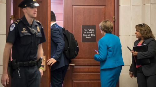 Senator Amy Klobuchar, D-Minn., and a member of the Senate Judiciary Committee, leave a closed-door interview with Donald Trump Jr., as the panel investigates possible Russian links to President Donald Trump's 2016 presidential campaign. (AP)