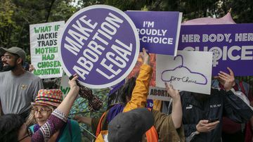 Pro-abortion rights demonstrators in Queensland.
