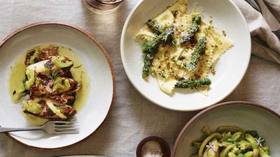 """<a href=""""http://kitchen.nine.com.au/2016/11/13/19/39/freds-asparagus-ravioli-with-lemon-brown-butter-and-pistachios"""" target=""""_top"""">Fred's asparagus ravioli with lemon, brown butter and pistachios</a><br /> <br /> <a href=""""http://merivale.com.au/freds"""" target=""""_top"""">Fred's, Paddington NSW</a>"""