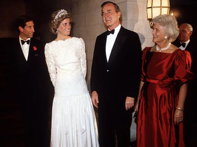 Prince Charles and Diana with George H. W. Bush, 1985