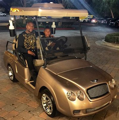 Floyd Mayeather bought his son a golden Bentley golf cart. (Instagram)