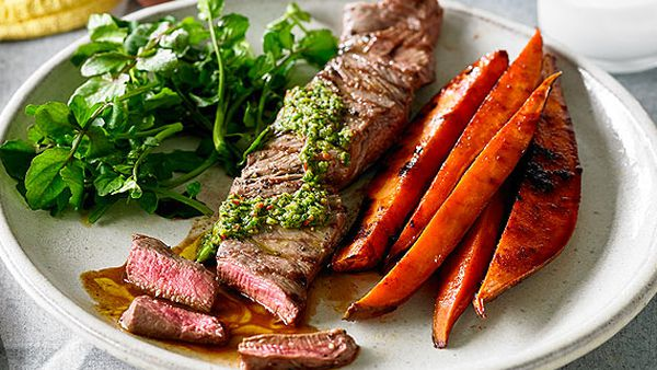 Chimichurri beef fillet with watercress and sweet potato