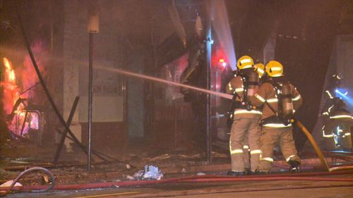 Fire crews at the scene overnight. (9NEWS)