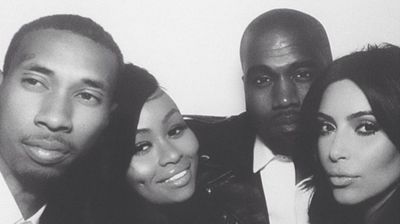 Kim and Kanye elebrating at the reception with Black Chyna and T-Raww (Instagram).