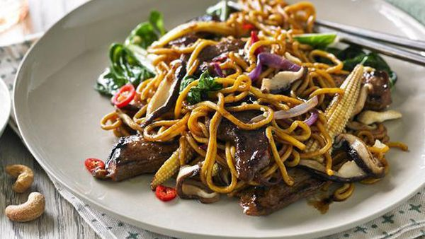 Hayden Quinn's stir-fried beef with Asian greens