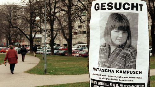 A black-and-white flyer shows Natascha Kampusch at age 10 as a missing person after she was abducted on her way to school in Austria in March 1998. (AAP)