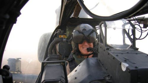 She became the first female pilot to fly the AH-1W 'Supra Cobra' attack helicopter on several combat tours. (Supplied)