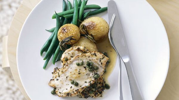 Chicken paillards with rosemary and capers