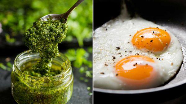 Pesto / fried eggs