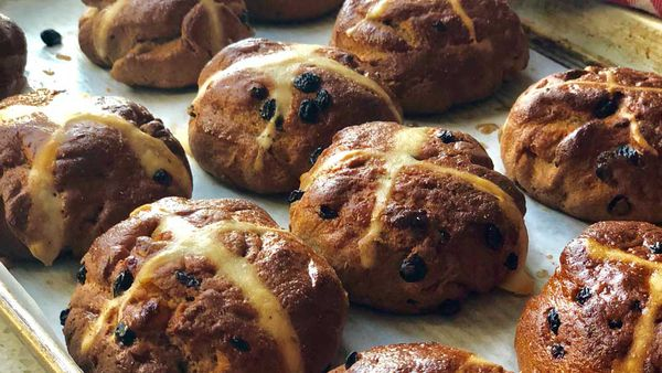 Barley hot cross bun