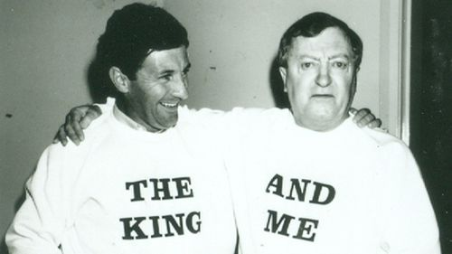 "Sutcliffe with Graham ""The King"" Kennedy. (Nine Network)"