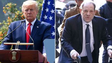 President Donald Trump in New Delhi, India and Harvey Weinstein in New York