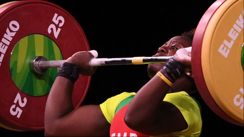 Arcangeline Fouodji Sonkbou of Cameroon during the women's 69kg weightlifting competition. (AAP)