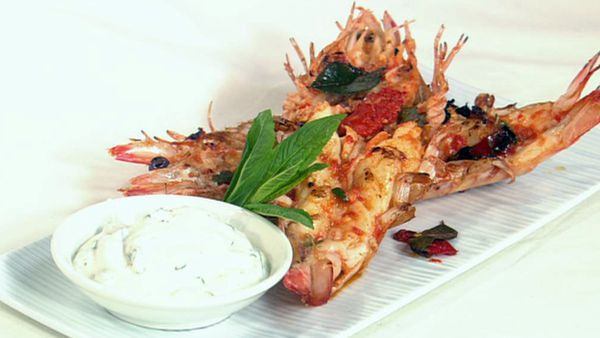 Barbecued crunchy chilli prawns
