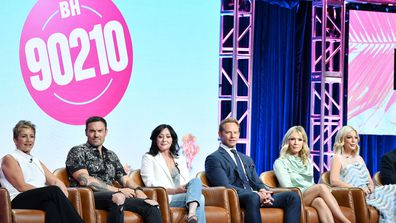 Gabrielle Carteris, Brian Austin Green, Shannen Doherty, Ian Ziering, Jennie Garth andTori Spelling of BH 90210 speak during the Fox segment of the 2019 Summer TCA Press Tour at The Beverly Hilton Hotel on August 7, 2019 in Beverly Hills, California.