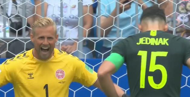 Danish keeper Kasper Schmeichel sledges Mile Jedinak.